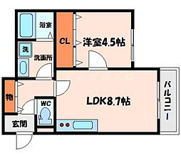 ソレイユ古川橋 1階1LDKの間取り