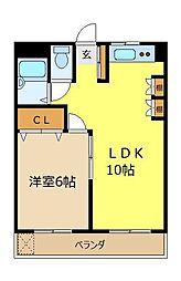 埼玉県富士見市鶴瀬東1丁目の賃貸マンションの間取り