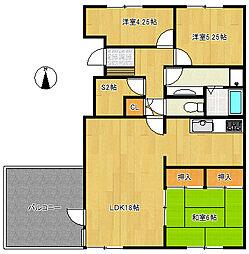 コーポ馬込沢1号棟205号室[2階]の間取り