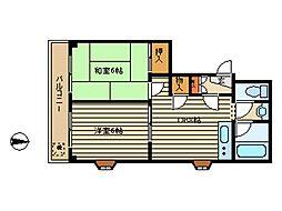 東京都大田区新蒲田3丁目の賃貸マンションの間取り