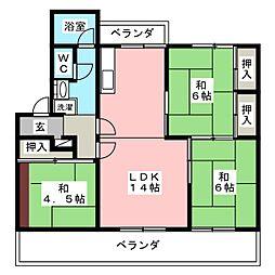 野間台住宅6号棟[2階]の間取り