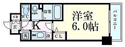 プレサンス天満橋チエロ 12階1Kの間取り