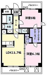 愛知県名古屋市名東区山香町の賃貸マンションの間取り