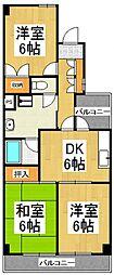 リシェス久米川2号館[3階]の間取り