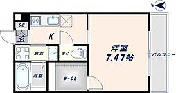 大阪府東大阪市瓢箪山町の賃貸アパートの間取り