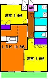 静岡県磐田市二之宮の賃貸アパートの間取り