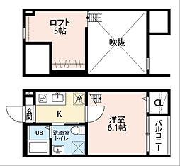 愛知県名古屋市中村区城主町6丁目の賃貸アパートの間取り
