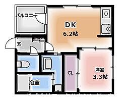 ハーモニーテラス千林大宮 3階1DKの間取り