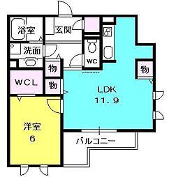 兵庫県西宮市甲子園五番町の賃貸アパートの間取り
