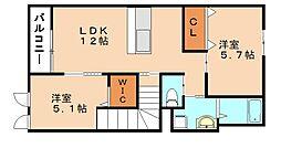 仮称 横田新築アパート[2階]の間取り