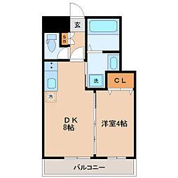 仙台市地下鉄東西線 大町西公園駅 徒歩14分の賃貸マンション 4階1DKの間取り
