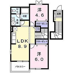 山口県下関市清末千房2丁目の賃貸アパートの間取り