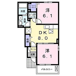 岡山県浅口市鴨方町六条院東の賃貸アパートの間取り
