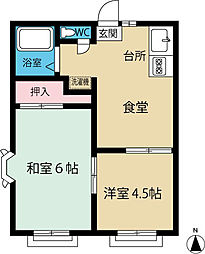 東京都八王子市片倉町の賃貸アパートの間取り