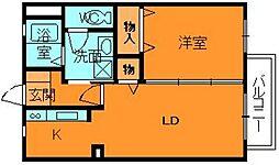 奈良県大和郡山市南大工町の賃貸アパートの間取り
