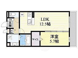 (仮称)東淀川区山本ハイツ 2階1LDKの間取り