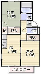 長野県長野市大字高田五分一の賃貸アパートの間取り