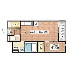 大阪府茨木市野々宮2丁目の賃貸マンションの間取り