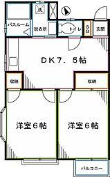 JR中央本線 西国分寺駅 徒歩8分の賃貸アパート 2階2DKの間取り