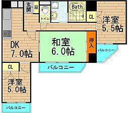 ユーロハイツ本田[702号室]の間取り