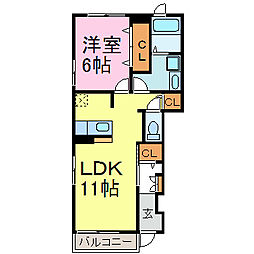 愛知県半田市板山町6丁目の賃貸アパートの間取り