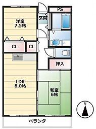 メゾンパール[1階]の間取り