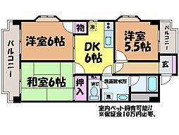 愛媛県松山市東野6丁目の賃貸マンションの間取り