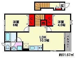 ディアコ-ト柳瀬[2階]の間取り
