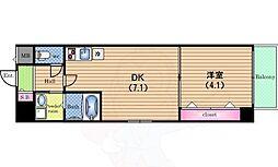 ドゥーエ立売堀 3階1DKの間取り