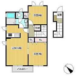 ウェルメイド壱番館 B[2階]の間取り