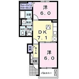 フロ−レス ミホムカイ[1階]の間取り