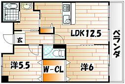 福岡県行橋市行事3丁目の賃貸マンションの間取り