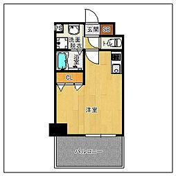 サヴォイソリディティ 12階ワンルームの間取り