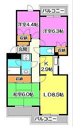 東京都東久留米市小山2丁目の賃貸マンションの間取り