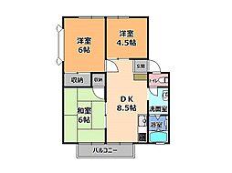 栃木県宇都宮市大曽2丁目の賃貸アパートの間取り