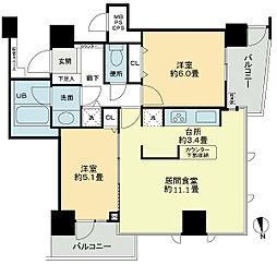 ベルファース大阪新町 11階2LDKの間取り