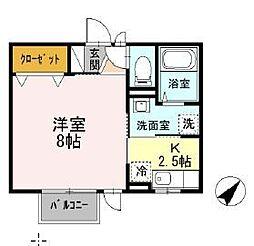 セジュールヨコハマ 2階1Kの間取り