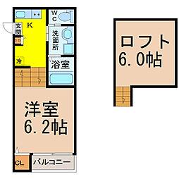 愛知県名古屋市中村区松原町5丁目の賃貸アパートの間取り
