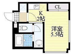 札幌市営南北線 さっぽろ駅 徒歩5分の賃貸マンション 2階1Kの間取り