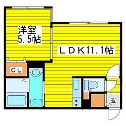 札幌市営東豊線 新道東駅 徒歩7分の賃貸アパート 2階1LDKの間取り