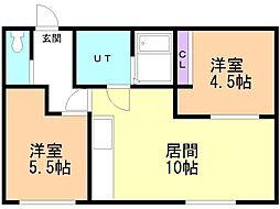 千歳町10番1棟2戸 3階2LDKの間取り