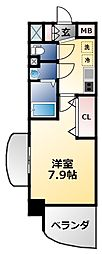 Luxe森之宮 12階1Kの間取り