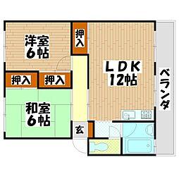 福岡県北九州市小倉南区朽網東1の賃貸マンションの間取り