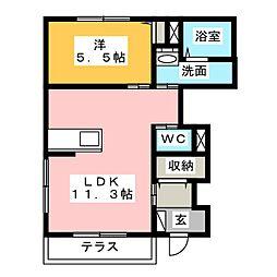 グリーン・ローズ 弐番館[1階]の間取り