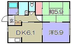 コーポツジタツ 1階2DKの間取り