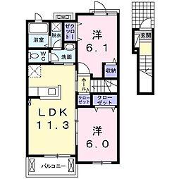 みきハウスⅡ B[2階]の間取り