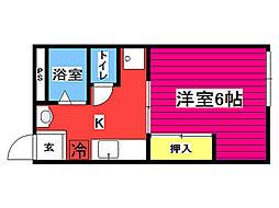 バス 川内亀岡公園前下車 徒歩3分の賃貸アパート 2階1Kの間取り