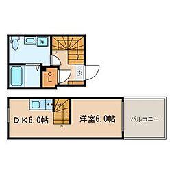 東京メトロ東西線 落合駅 徒歩3分の賃貸マンション 4階1LDKの間取り