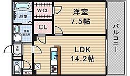 KW RESIDENCE AWAZA[12階]の間取り