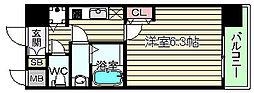 大阪府大阪市北区紅梅町の賃貸マンションの間取り